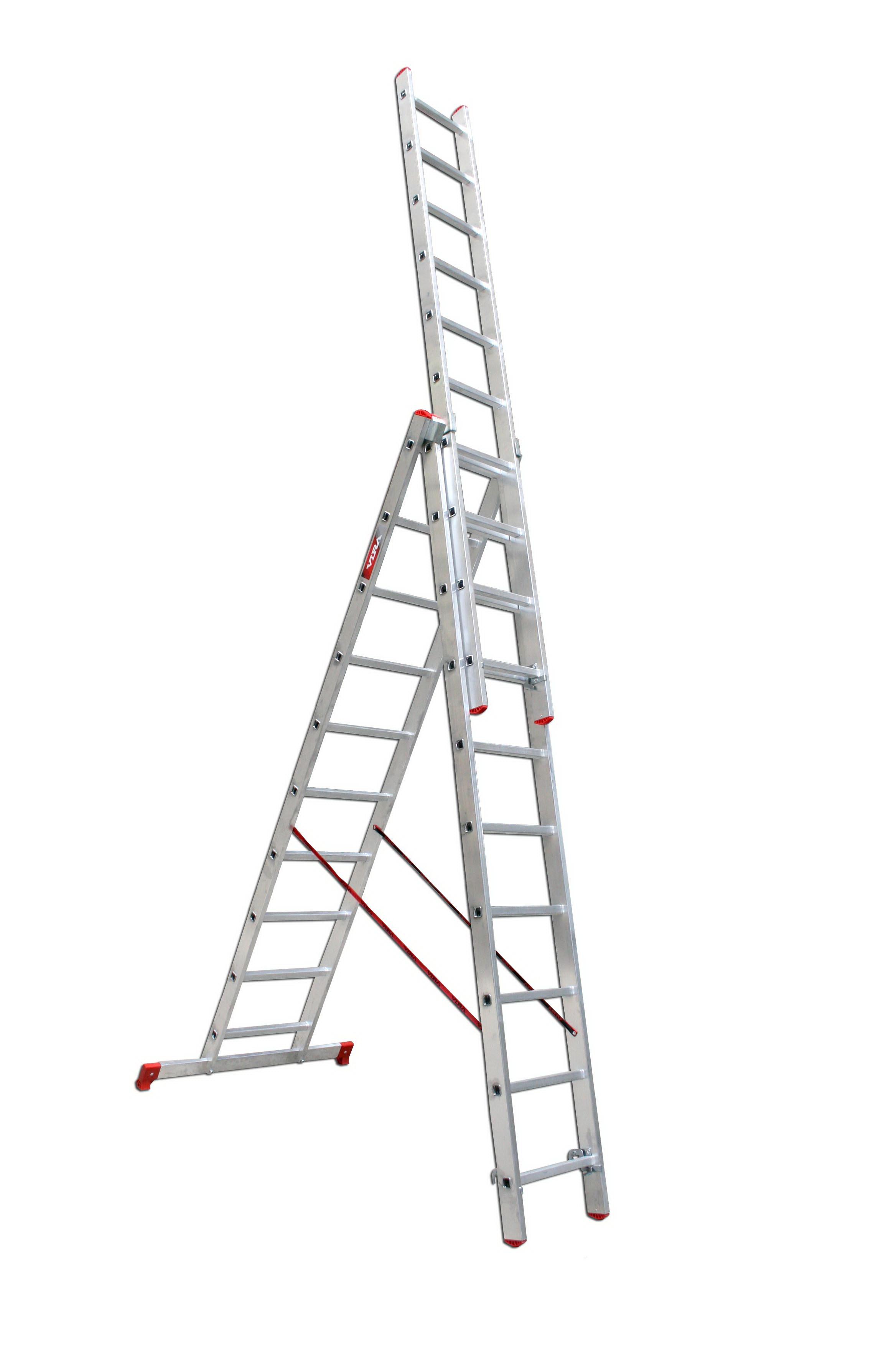 Лестница алюминиевая 3 х секционная Vira от 220 Вольт