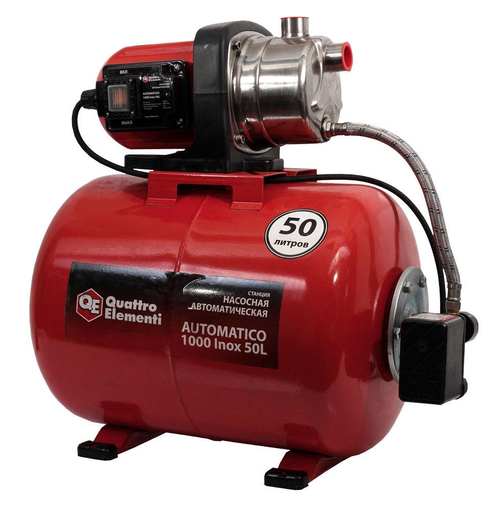 Насосная станция Quattro elementiНасосные станции<br>Мощность: 1000,<br>Назначение по воде: чистая вода,<br>Макс. производительность по воде: 3600,<br>Тип насоса: поверхностный,<br>Мин. давление: 1.5,<br>Макс. давление: 3,<br>Макс. глубина: 8,<br>Макс. высота: 45,<br>Бак: 50,<br>Материал корпуса: нержавеющая сталь,<br>Диаметр на выходе (в дюймах): 1,<br>Вес нетто: 8.3<br>