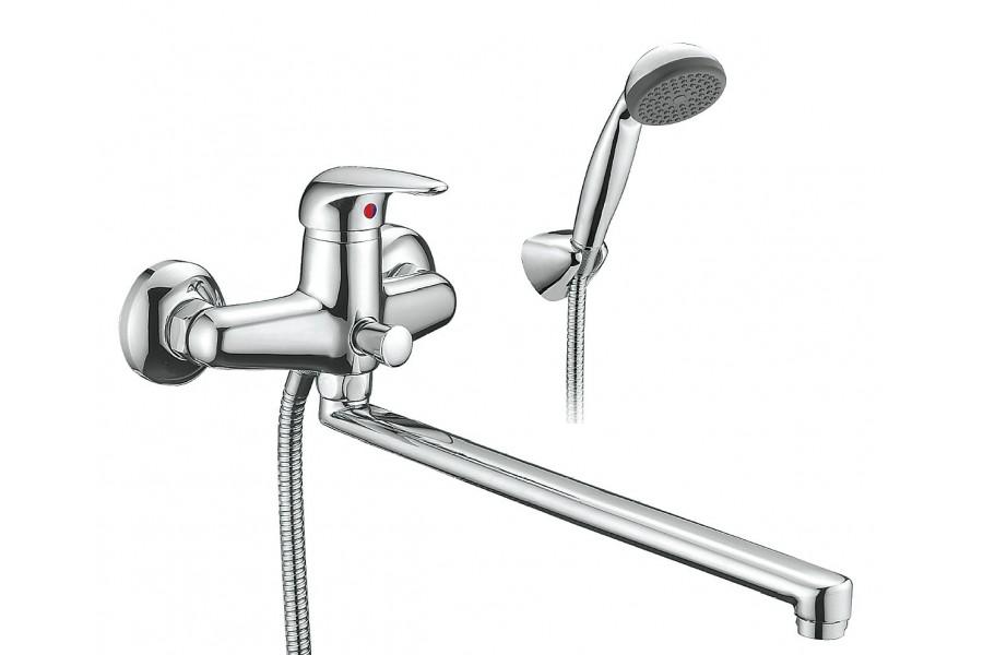 Смеситель для ванны SmartsantСмесители<br>Назначение смесителя: для ванны и душа,<br>Тип управления смесителя: однорычажный,<br>Цвет покрытия: хром,<br>Стиль смесителя: модерн,<br>Монтаж смесителя: вертикальный,<br>Тип установки смесителя: настенный,<br>Материал смесителя: латунь,<br>Излив: длинный,<br>Аэратор: есть,<br>Родина бренда: Россия<br>