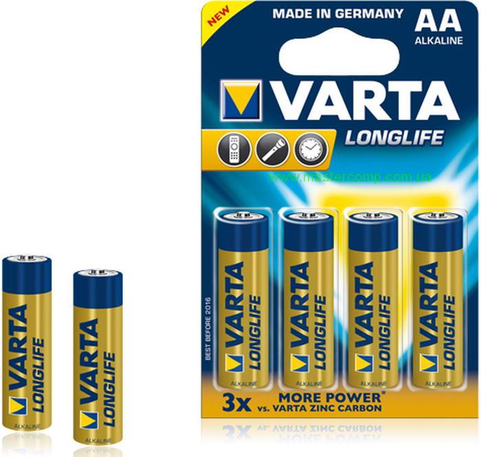 Батарейка VartaБатарейки, аккумуляторы и зарядные устройства<br>Напряжение: 1,5,<br>Тип: АА,<br>Вид: батарейка,<br>Количество в упаковке: 4<br>