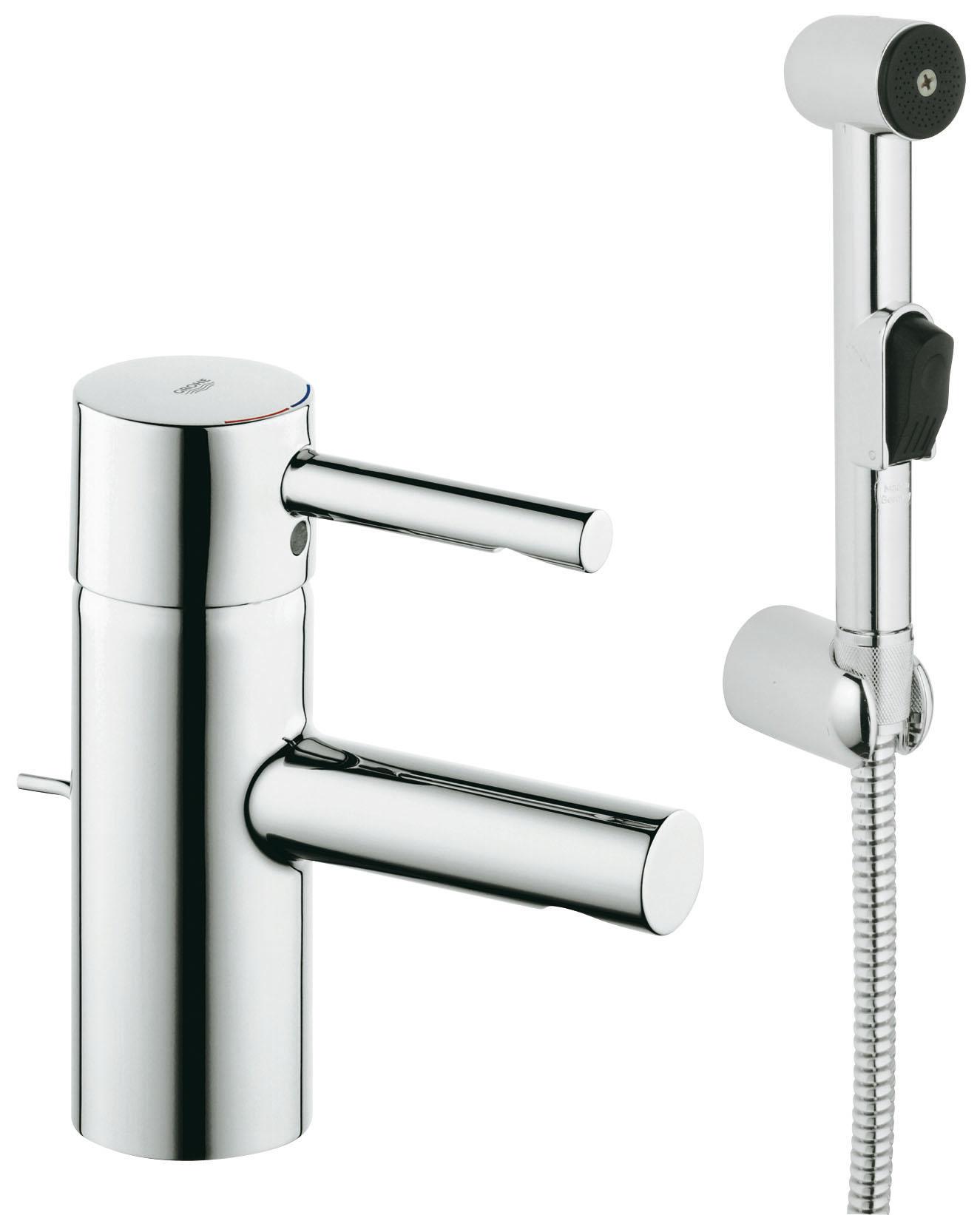 Смеситель с гигиеническим душем GroheСмесители<br>Назначение смесителя: для раковины,<br>Выдвижной душ: есть,<br>Тип управления смесителя: однорычажный,<br>Цвет покрытия: хром,<br>Стиль смесителя: модерн,<br>Монтаж смесителя: горизонтальный,<br>Тип установки смесителя: на мойку (раковину),<br>Материал смесителя: латунь,<br>Излив: традиционный,<br>Аэратор: есть,<br>Родина бренда: Германия,<br>Страна происхождения: Германия,<br>Гарантия: 60<br>