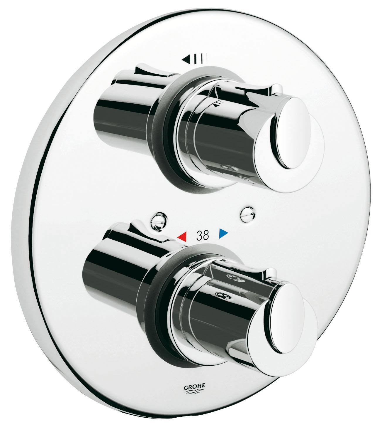 Cмеситель термостатический GroheСмесители<br>Назначение смесителя: для душа,<br>Наличие термостата: есть,<br>Тип управления смесителя: вентильный,<br>Цвет покрытия: хром,<br>Стиль смесителя: модерн,<br>Монтаж смесителя: вертикальный,<br>Тип установки смесителя: скрытая установка,<br>Материал смесителя: латунь,<br>Излив: традиционный,<br>Родина бренда: Германия,<br>Страна происхождения: Германия<br>