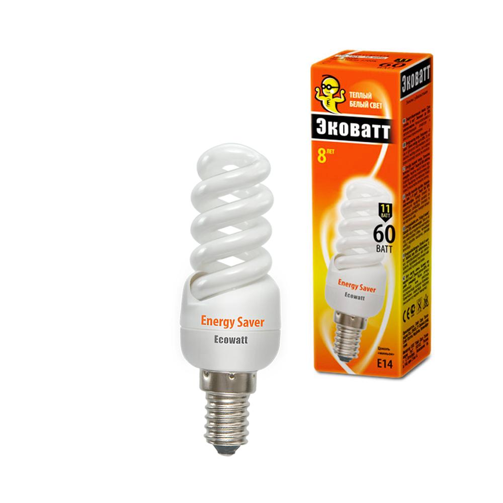 Лампа энергосберегающая EcowattЛампы<br>Тип лампы: энергосберегающая,<br>Форма лампы: спираль,<br>Цвет колбы: белая,<br>Тип цоколя: Е14,<br>Напряжение: 220,<br>Мощность: 11,<br>Цветовая температура: 2700,<br>Цвет свечения: теплый<br>