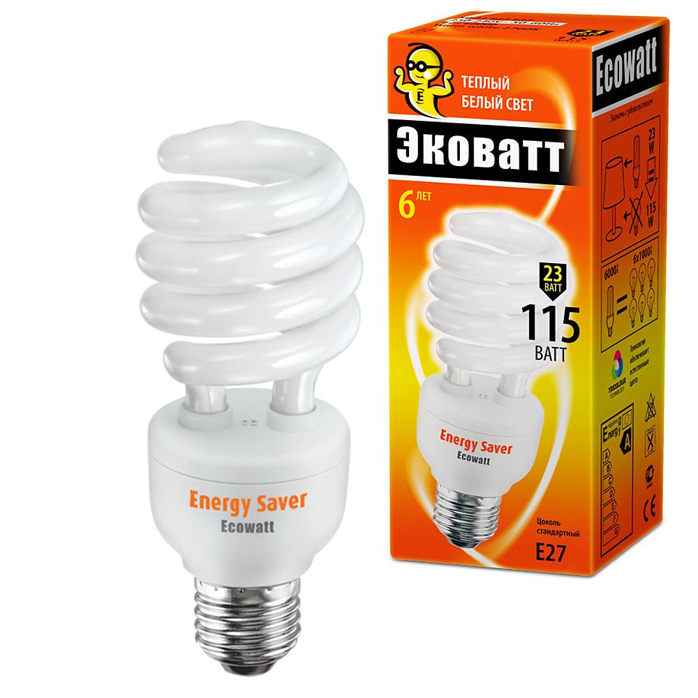 Лампа энергосберегающая EcowattЛампы<br>Тип лампы: энергосберегающая КЛЛ,<br>Форма лампы: спираль,<br>Цвет колбы: белая,<br>Тип цоколя: Е27,<br>Напряжение: 220,<br>Мощность: 23,<br>Цветовая температура: 2700,<br>Цвет свечения: теплый<br>