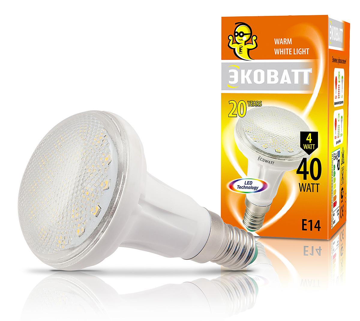Лампа светодиодная EcowattЛампы<br>Тип лампы: светодиодная,<br>Форма лампы: рефлекторная,<br>Цвет колбы: белая,<br>Тип цоколя: Е14,<br>Напряжение: 220,<br>Мощность: 4,<br>Цветовая температура: 2700,<br>Цвет свечения: теплый<br>