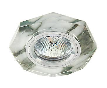 Светильник встраиваемый АКЦЕНТСветильники встраиваемые<br>Стиль светильника: модерн, Диаметр: 65, Форма светильника: восьмиугольник, Материал светильника: металл, Количество ламп: 1, Тип лампы: галогенная, Мощность: 50, Патрон: GU5.3, Цвет арматуры: серебристый<br>