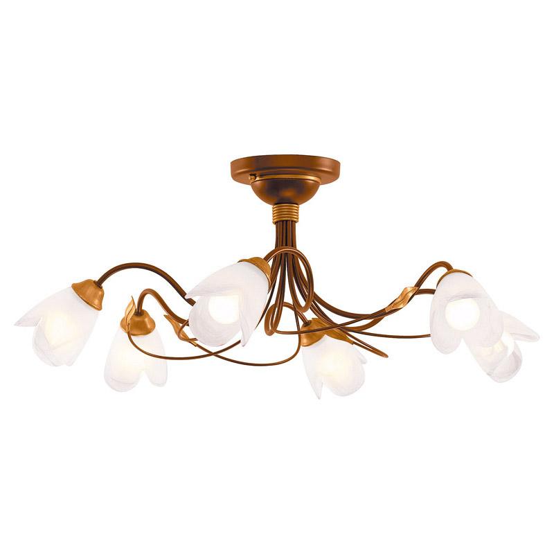Люстра СЕВЕРНЫЙ СВЕТЛюстры<br>Назначение светильника: для гостиной,<br>Стиль светильника: флористика,<br>Тип: потолочная,<br>Материал светильника: металл, стекло,<br>Материал плафона: стекло,<br>Материал арматуры: металл,<br>Диаметр: 780,<br>Высота: 300,<br>Количество ламп: 6,<br>Тип лампы: накаливания,<br>Мощность: 60,<br>Патрон: Е14,<br>Цвет арматуры: медь,<br>Коллекция: лиана<br>