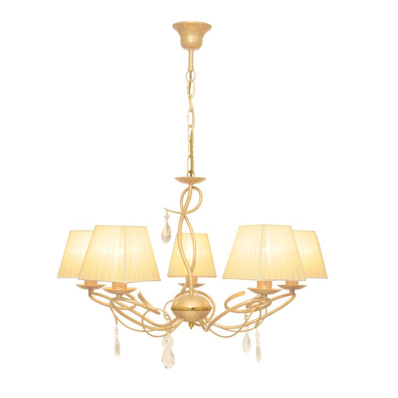 Люстра СЕВЕРНЫЙ СВЕТЛюстры<br>Назначение светильника: для гостиной, Стиль светильника: классика, Тип: подвесная, Материал светильника: металл, ткань, Материал плафона: ткань, Материал арматуры: металл, Диаметр: 660, Высота: 780, Количество ламп: 5, Тип лампы: накаливания, Мощность: 60, Патрон: Е14, Цвет арматуры: бежевый, Родина бренда: Россия, Коллекция: рандеву<br>