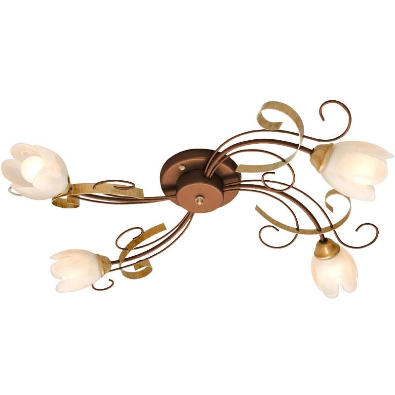 Люстра СЕВЕРНЫЙ СВЕТЛюстры<br>Назначение светильника: для гостиной, Стиль светильника: флористика, Тип: потолочная, Материал светильника: металл, стекло, Материал плафона: стекло, Материал арматуры: металл, Диаметр: 690, Высота: 180, Количество ламп: 4, Тип лампы: накаливания, Мощность: 60, Патрон: Е14, Цвет арматуры: медь, Родина бренда: Россия, Коллекция: софия<br>
