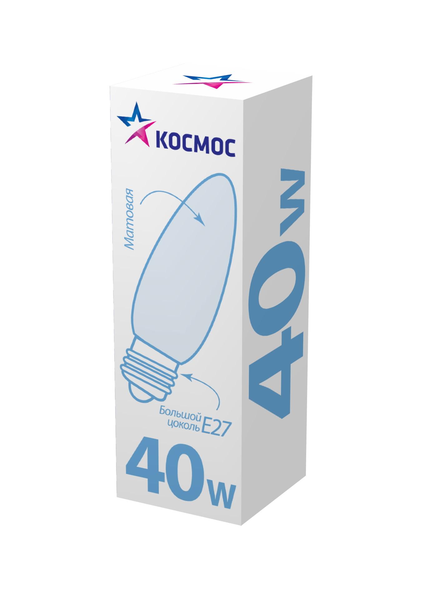Лампа накаливания КОСМОСЛампы<br>Тип лампы: накаливания,<br>Форма лампы: свеча,<br>Цвет колбы: матовая,<br>Тип цоколя: Е27,<br>Напряжение: 220,<br>Мощность: 40,<br>Цвет свечения: теплый<br>