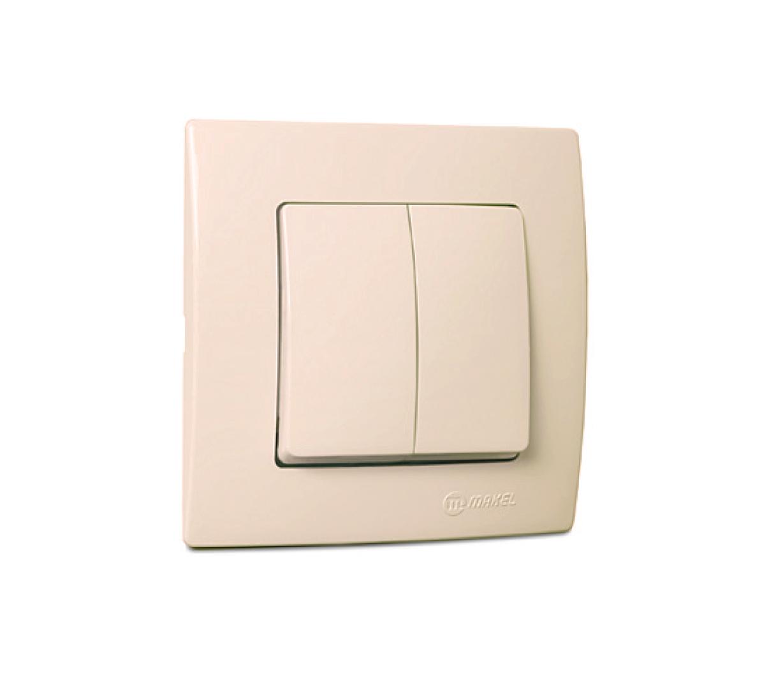 Выключатель MakelЭлектроустановочные изделия<br>Тип изделия: выключатель,<br>Способ монтажа: скрытой установки,<br>Цвет: кремовый,<br>Сила тока: 10,<br>Степень защиты от пыли и влаги: IP 20,<br>Количество клавиш: 2,<br>Выходная мощность максимально: 2200,<br>Напряжение: 220<br>