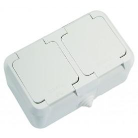 Розетка MakelЭлектроустановочные изделия<br>Тип изделия: розетка,<br>Способ монтажа: открытой установки,<br>Цвет: белый,<br>Заземление: есть,<br>Сила тока: 16,<br>Наличие крышки: есть,<br>Степень защиты от пыли и влаги: IP 44,<br>Количество гнезд: 2,<br>Выходная мощность максимально: 3500,<br>Напряжение: 220<br>