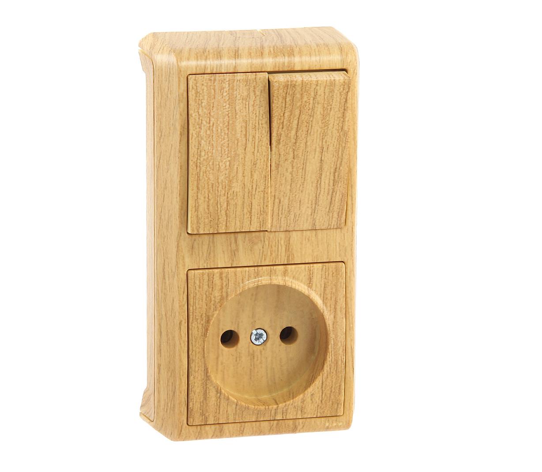 Блок VikoЭлектроустановочные изделия<br>Тип изделия: блок,<br>Способ монтажа: открытой установки,<br>Цвет: дуб,<br>Заземление: нет,<br>Сила тока: 10,<br>Степень защиты от пыли и влаги: IP 20,<br>Количество гнезд: 1,<br>Количество клавиш: 2,<br>Выходная мощность максимально: 2200,<br>Напряжение: 220<br>