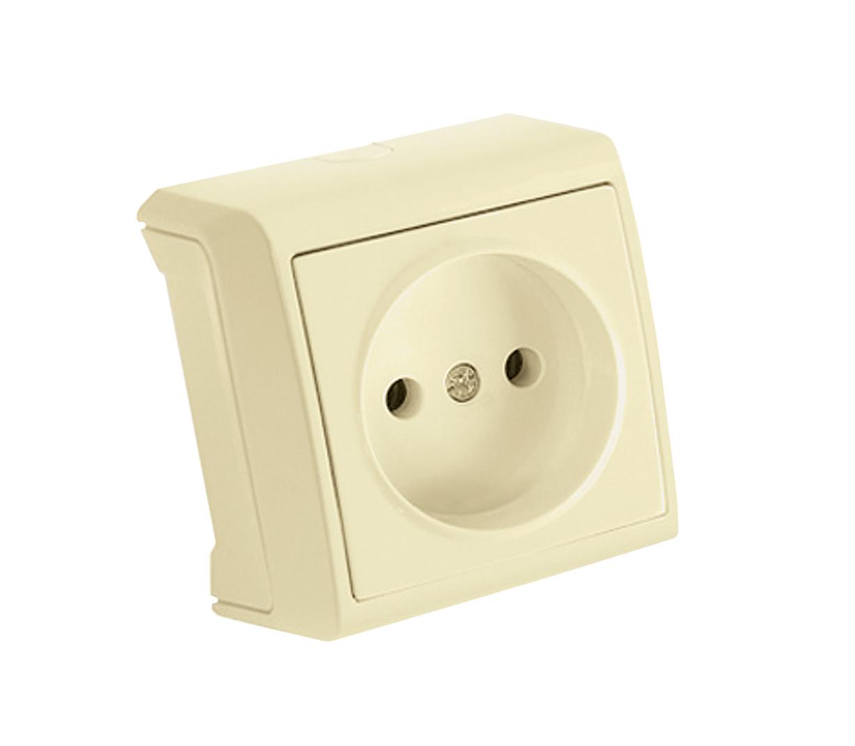 Розетка VikoЭлектроустановочные изделия<br>Тип изделия: розетка,<br>Способ монтажа: открытой установки,<br>Цвет: кремовый,<br>Заземление: нет,<br>Сила тока: 16,<br>Степень защиты от пыли и влаги: IP 20,<br>Количество гнезд: 1,<br>Выходная мощность максимально: 3500,<br>Напряжение: 220<br>