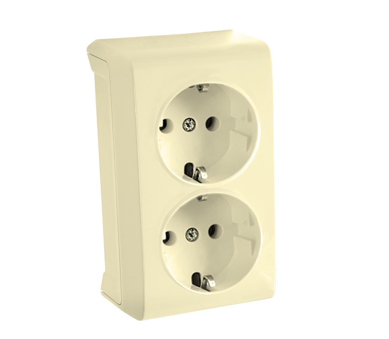 Розетка VikoЭлектроустановочные изделия<br>Тип изделия: розетка,<br>Способ монтажа: открытой установки,<br>Цвет: кремовый,<br>Заземление: есть,<br>Сила тока: 16,<br>Степень защиты от пыли и влаги: IP 20,<br>Количество гнезд: 2,<br>Выходная мощность максимально: 3500,<br>Напряжение: 220<br>
