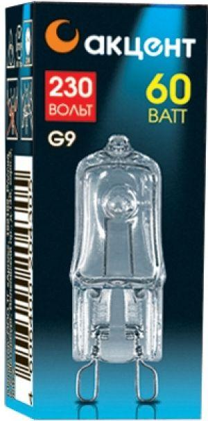 Лампа галогенная АКЦЕНТЛампы<br>Тип лампы: галогенная,<br>Форма лампы: капсульная,<br>Цвет колбы: прозрачная,<br>Тип цоколя: G9,<br>Напряжение: 220,<br>Мощность: 60,<br>Цвет свечения: теплый<br>
