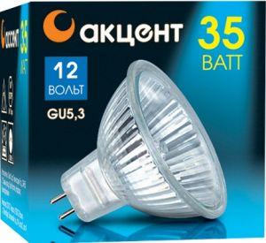 Лампа галогенная АКЦЕНТЛампы<br>Тип лампы: галогенная,<br>Форма лампы: рефлекторная,<br>Цвет колбы: прозрачная,<br>Тип цоколя: GU5.3,<br>Напряжение: 12,<br>Мощность: 35,<br>Цвет свечения: теплый<br>