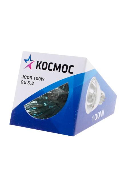 Лампа галогенная КОСМОСЛампы<br>Тип лампы: галогенная,<br>Форма лампы: рефлекторная,<br>Цвет колбы: прозрачная,<br>Тип цоколя: GU5.3,<br>Напряжение: 220,<br>Мощность: 100,<br>Цвет свечения: теплый<br>