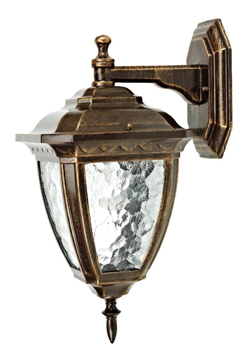 Светильник настенный уличный DuewiСветильники уличные<br>Мощность: 100,<br>Тип установки: настенный,<br>Стиль светильника: классика,<br>Количество ламп: 1,<br>Тип лампы: накаливания,<br>Патрон: Е27,<br>Степень защиты от пыли и влаги: IP 44,<br>Цвет арматуры: золото<br>