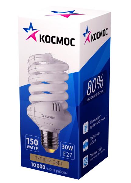 Лампа энергосберегающая КОСМОСЛампы<br>Тип лампы: энергосберегающая,<br>Форма лампы: спираль,<br>Цвет колбы: белая,<br>Тип цоколя: Е27,<br>Напряжение: 220,<br>Мощность: 30,<br>Цветовая температура: 2700,<br>Цвет свечения: теплый<br>