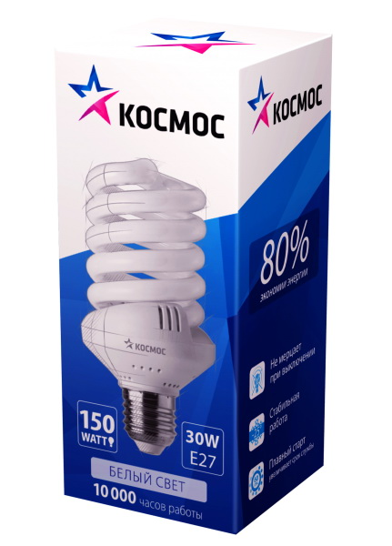 Лампа энергосберегающая КОСМОСЛампы<br>Тип лампы: энергосберегающая КЛЛ, Форма лампы: спираль, Цвет колбы: белая, Тип цоколя: Е27, Напряжение: 220, Мощность: 30, Цветовая температура: 4200, Цвет свечения: нейтральный<br>