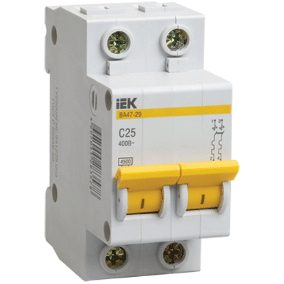 Автомат IekАвтоматические выключатели<br>Номинальный ток: 40,<br>Тип выключателя: автомат,<br>Количество полюсов: 2,<br>Номинальная отключающая способность: 4500,<br>Степень защиты от пыли и влаги: IP 20,<br>Количество модулей: 2<br>