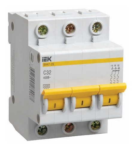 Автомат IekАвтоматические выключатели<br>Номинальный ток: 8,<br>Тип выключателя: автомат,<br>Количество полюсов: 3,<br>Номинальная отключающая способность: 4500,<br>Степень защиты от пыли и влаги: IP 20,<br>Количество модулей: 3<br>