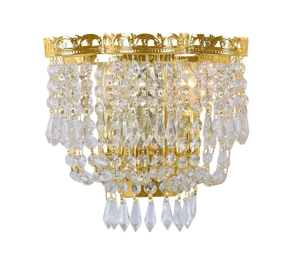 Бра МАКСИСВЕТНастенные светильники и бра<br>Тип: настенный, Назначение светильника: для гостиной, Стиль светильника: классика, Материал светильника: металл, хрусталь, Тип лампы: накаливания, Количество ламп: 2, Мощность: 40, Патрон: Е14, Цвет арматуры: золото, Ширина: 130, Высота: 240, Удаление от стены: 220, Коллекция: 3033w<br>