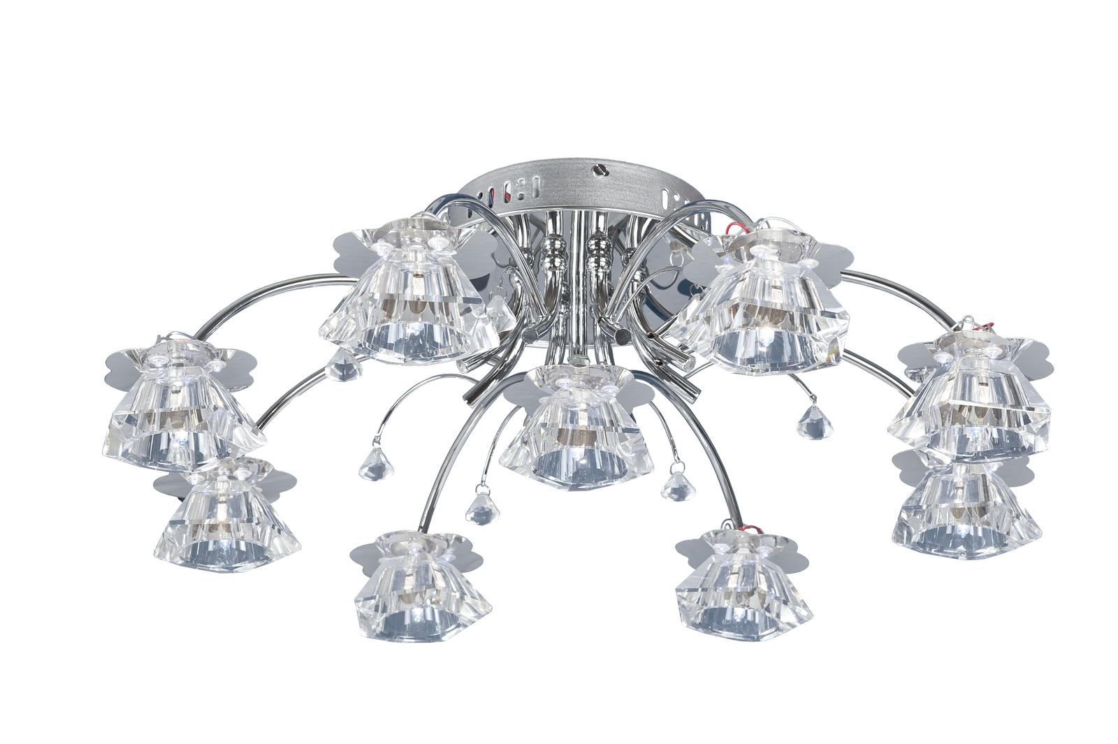 Люстра МАКСИСВЕТЛюстры<br>Назначение светильника: для гостиной, Стиль светильника: модерн, Тип: потолочная, Материал светильника: металл, стекло, хрусталь, Материал арматуры: металл, Длина (мм): 640, Ширина: 640, Высота: 180, Количество ламп: 9, Тип лампы: галогенные и светодиодные, Мощность: 20, Патрон: G4, Пульт ДУ: есть, Цвет арматуры: хром, Родина бренда: Россия, Коллекция: 44179<br>