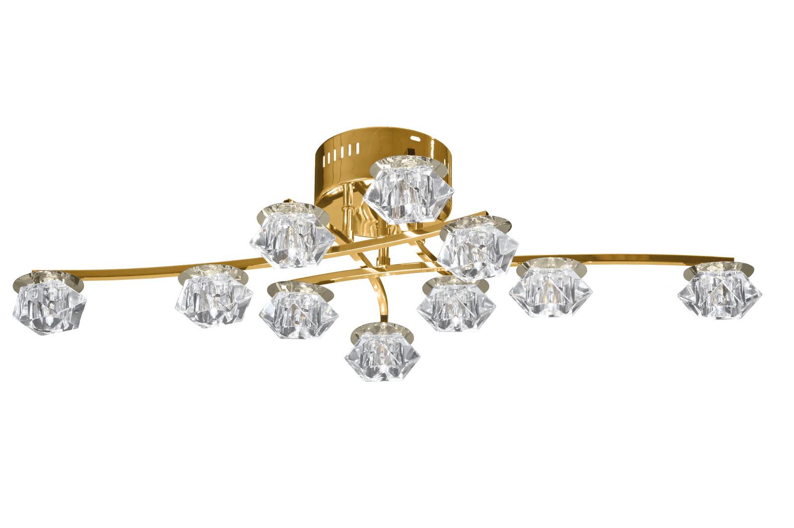 Люстра МАКСИСВЕТЛюстры<br>Назначение светильника: для гостиной,<br>Стиль светильника: модерн,<br>Тип: потолочная,<br>Материал светильника: металл, стекло,<br>Материал плафона: стекло,<br>Материал арматуры: металл,<br>Длина (мм): 850,<br>Ширина: 560,<br>Высота: 170,<br>Количество ламп: 10,<br>Тип лампы: галогенные и светодиодные,<br>Мощность: 20,<br>Патрон: G4,<br>Пульт ДУ: есть,<br>Цвет арматуры: золото<br>