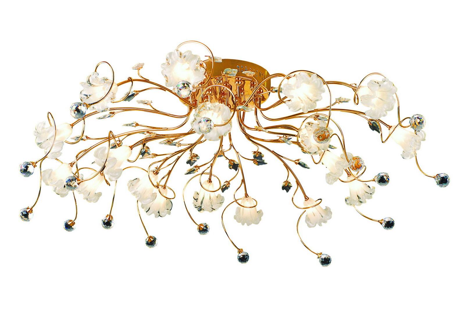 Люстра МАКСИСВЕТЛюстры<br>Назначение светильника: для гостиной,<br>Стиль светильника: флористика,<br>Тип: потолочная,<br>Материал светильника: металл, стекло,<br>Материал плафона: стекло,<br>Материал арматуры: металл,<br>Длина (мм): 980,<br>Ширина: 980,<br>Высота: 250,<br>Количество ламп: 18,<br>Тип лампы: галогенные и светодиодные,<br>Мощность: 20,<br>Патрон: G4,<br>Пульт ДУ: есть,<br>Цвет арматуры: золото<br>