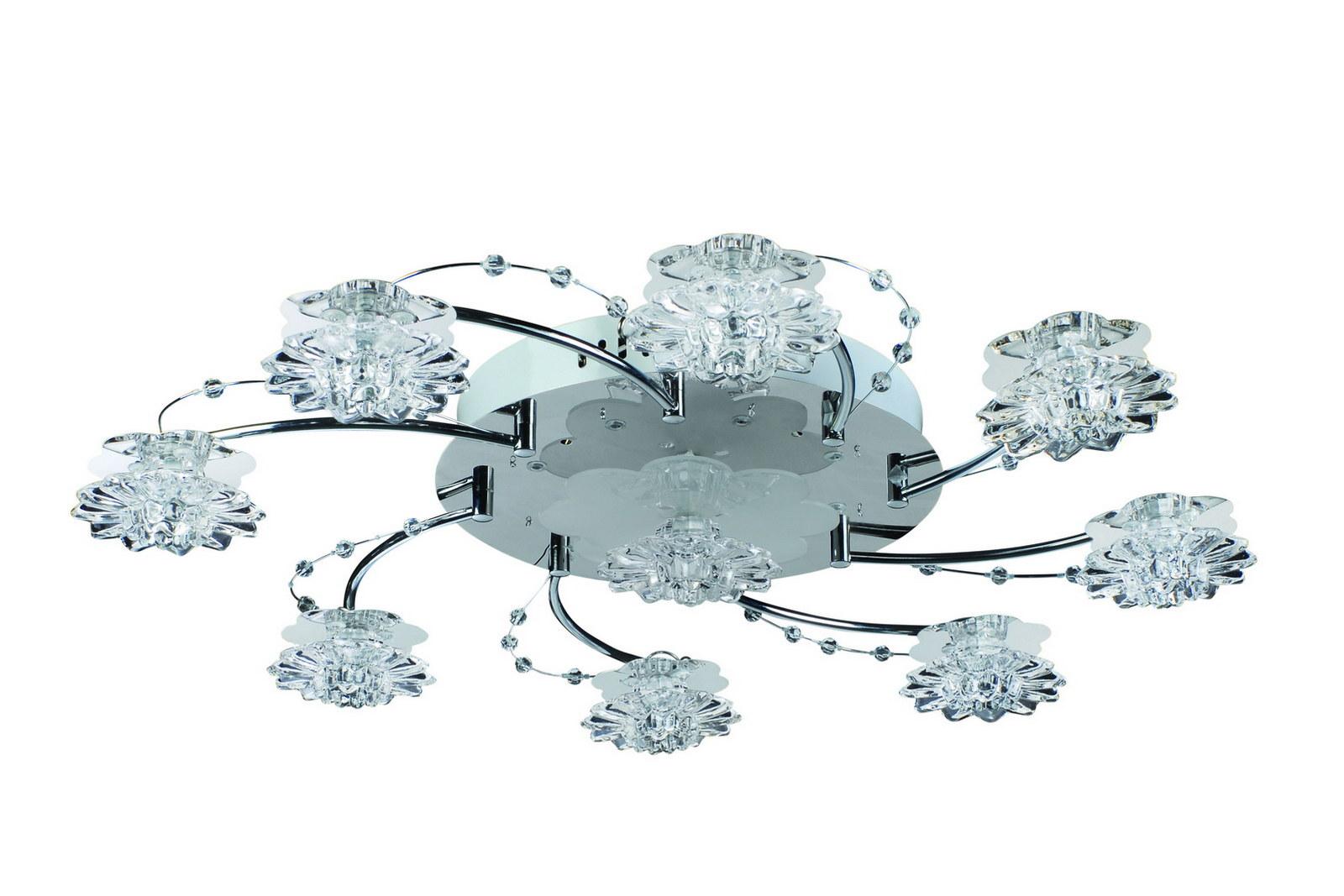Люстра МАКСИСВЕТ - МАКСИСВЕТЛюстры<br>Назначение светильника: для гостиной,<br>Стиль светильника: флористика,<br>Тип: потолочная,<br>Материал светильника: металл, стекло,<br>Материал плафона: стекло,<br>Материал арматуры: металл,<br>Длина (мм): 700,<br>Ширина: 700,<br>Высота: 120,<br>Количество ламп: 9,<br>Тип лампы: галогенные и светодиодные,<br>Мощность: 20,<br>Патрон: G4,<br>Пульт ДУ: есть,<br>Цвет арматуры: хром<br>