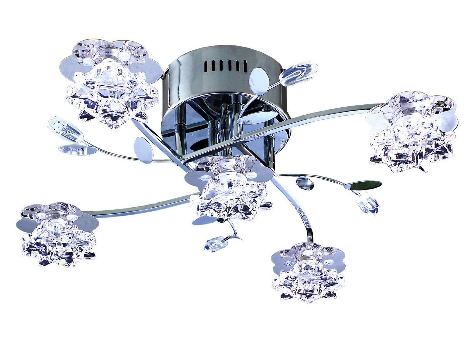 Люстра МАКСИСВЕТЛюстры<br>Назначение светильника: для гостиной,<br>Стиль светильника: флористика,<br>Тип: потолочная,<br>Материал светильника: металл, стекло,<br>Материал плафона: стекло,<br>Материал арматуры: металл,<br>Длина (мм): 540,<br>Ширина: 540,<br>Высота: 180,<br>Количество ламп: 5,<br>Тип лампы: галогенные и светодиодные,<br>Мощность: 20,<br>Патрон: G4,<br>Пульт ДУ: есть,<br>Цвет арматуры: хром<br>
