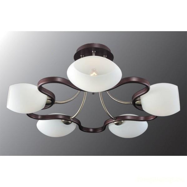 Люстра МАКСИСВЕТЛюстры<br>Назначение светильника: для гостиной,<br>Стиль светильника: модерн,<br>Тип: потолочная,<br>Материал светильника: металл, дерево, стекло,<br>Материал плафона: стекло,<br>Материал арматуры: металл,<br>Длина (мм): 560,<br>Ширина: 560,<br>Высота: 270,<br>Количество ламп: 5,<br>Тип лампы: накаливания,<br>Мощность: 40,<br>Патрон: Е14,<br>Пульт ДУ: нет,<br>Цвет арматуры: бронза<br>