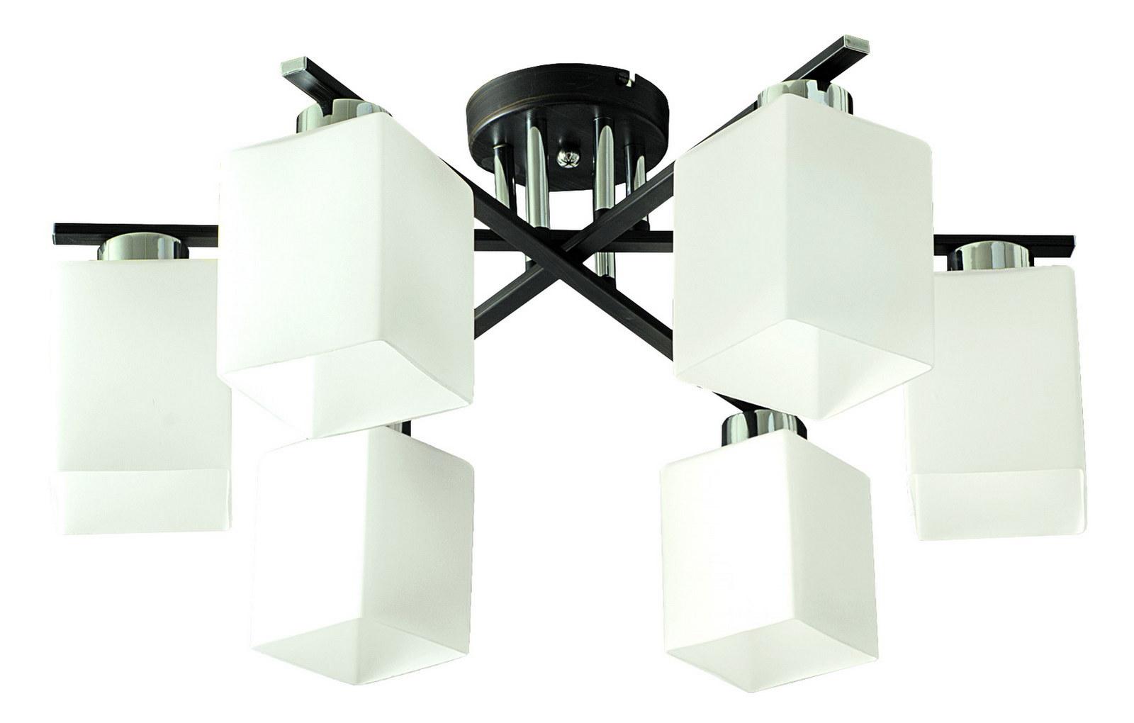 Люстра МАКСИСВЕТЛюстры<br>Назначение светильника: для гостиной,<br>Стиль светильника: модерн,<br>Тип: потолочная,<br>Материал светильника: металл, дерево, стекло,<br>Материал плафона: стекло,<br>Материал арматуры: металл,<br>Длина (мм): 600,<br>Ширина: 600,<br>Высота: 255,<br>Количество ламп: 6,<br>Тип лампы: накаливания,<br>Мощность: 40,<br>Патрон: Е27,<br>Пульт ДУ: нет,<br>Цвет арматуры: хром<br>