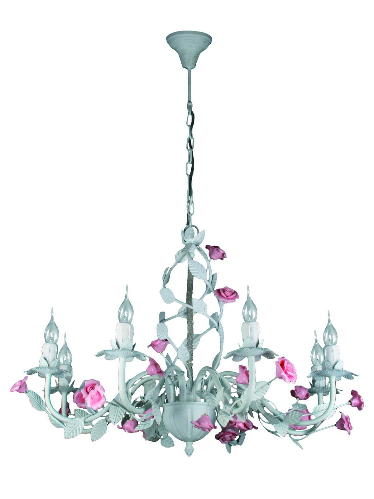 Люстра МАКСИСВЕТЛюстры<br>Назначение светильника: для гостиной, Стиль светильника: флористика, Тип: потолочная, Материал светильника: металл, керамика, Материал арматуры: металл, Длина (мм): 700, Ширина: 700, Высота: 550, Количество ламп: 8, Тип лампы: накаливания, Мощность: 40, Патрон: Е14, Пульт ДУ: нет, Цвет арматуры: белый, Родина бренда: Россия, Коллекция: ca622a<br>
