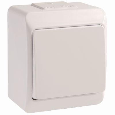 Выключатель IekЭлектроустановочные изделия<br>Тип изделия: выключатель,<br>Способ монтажа: открытой установки,<br>Цвет: белый,<br>Сила тока: 10,<br>Степень защиты от пыли и влаги: IP 54,<br>Количество клавиш: 1,<br>Выходная мощность максимально: 2200,<br>Напряжение: 220<br>