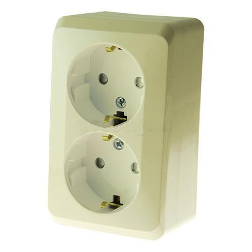 Розетка Schneider electricЭлектроустановочные изделия<br>Тип изделия: розетка,<br>Способ монтажа: открытой установки,<br>Цвет: кремовый,<br>Заземление: есть,<br>Сила тока: 16,<br>Шторки: есть,<br>Количество гнезд: 2,<br>Выходная мощность максимально: 3500,<br>Напряжение: 220<br>