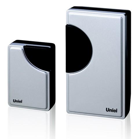 Звонок UnielЗвонки<br>Тип: звонок,<br>Тип звонка: беспроводной,<br>Количество мелодий: 32,<br>Радиус действия: 100,<br>Цвет: серый,<br>Источники питания: AA,<br>Степень защиты от пыли и влаги: IP 20,<br>Напряжение: 12<br>