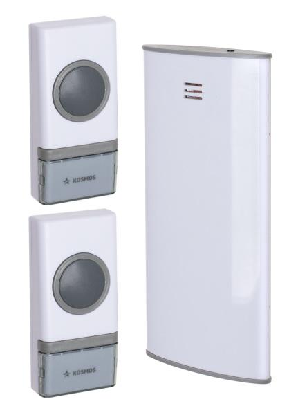 Звонок КОСМОСЗвонки<br>Тип: звонок,<br>Тип звонка: беспроводной,<br>Количество мелодий: 32,<br>Радиус действия: 150,<br>Регулировка звука: нет,<br>Цвет: белый,<br>Источники питания: MN21,<br>Степень защиты от пыли и влаги: IP 24,<br>Световая индикация: есть<br>