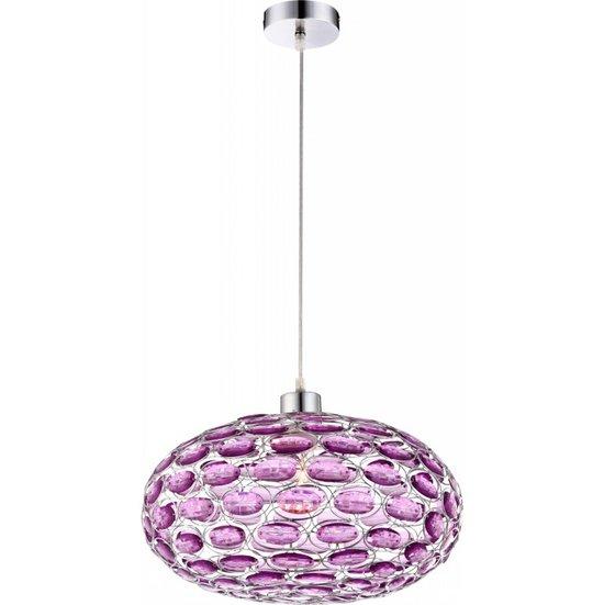 Люстра GloboЛюстры<br>Назначение светильника: для гостиной,<br>Стиль светильника: модерн,<br>Тип: потолочная,<br>Материал светильника: металл, пластик,<br>Материал плафона: пластик,<br>Материал арматуры: металл,<br>Диаметр: 380,<br>Высота: 700,<br>Количество ламп: 1,<br>Тип лампы: накаливания,<br>Мощность: 60,<br>Патрон: Е27,<br>Цвет арматуры: хром<br>