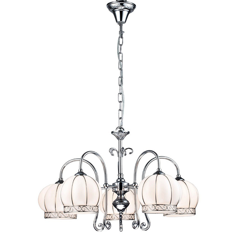 Люстра Arte lampЛюстры<br>Назначение светильника: для комнаты, Стиль светильника: модерн, Тип: подвесная, Материал светильника: металл, Материал плафона: стекло, Материал арматуры: металл, Длина (мм): 620, Ширина: 620, Диаметр: 620, Высота: 380, Количество ламп: 5, Тип лампы: накаливания, Мощность: 60, Патрон: Е14, Пульт ДУ: нет, Цвет арматуры: хром, Родина бренда: Италия, Коллекция: venice 2106<br>