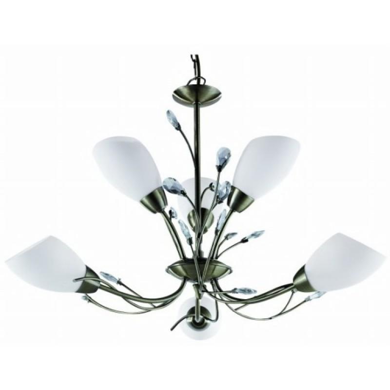 Люстра Arte lampЛюстры<br>Назначение светильника: для комнаты,<br>Стиль светильника: классика,<br>Тип: подвесная,<br>Материал светильника: металл,<br>Материал плафона: стекло,<br>Материал арматуры: металл,<br>Длина (мм): 600,<br>Ширина: 600,<br>Диаметр: 600,<br>Высота: 400,<br>Количество ламп: 6,<br>Тип лампы: накаливания,<br>Мощность: 40,<br>Патрон: Е14,<br>Пульт ДУ: нет,<br>Цвет арматуры: бронза<br>
