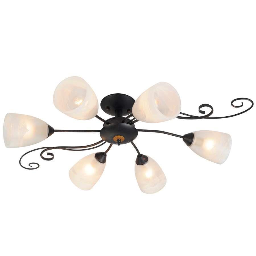 Люстра Arte lampЛюстры<br>Назначение светильника: для комнаты, Стиль светильника: классика, Тип: потолочная, Материал светильника: металл, Материал плафона: стекло, Материал арматуры: металл, Длина (мм): 830, Ширина: 530, Диаметр: 530, Высота: 230, Количество ламп: 6, Тип лампы: накаливания, Мощность: 60, Патрон: Е14, Пульт ДУ: нет, Цвет арматуры: дерево, Родина бренда: Италия<br>