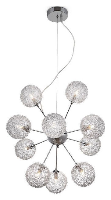 Люстра GloboЛюстры<br>Назначение светильника: для гостиной,<br>Стиль светильника: модерн,<br>Тип: потолочная,<br>Материал светильника: металл, стекло,<br>Материал плафона: стекло,<br>Материал арматуры: металл,<br>Диаметр: 580,<br>Высота: 1000,<br>Количество ламп: 10,<br>Тип лампы: галогенная,<br>Мощность: 40,<br>Патрон: G9,<br>Цвет арматуры: хром<br>