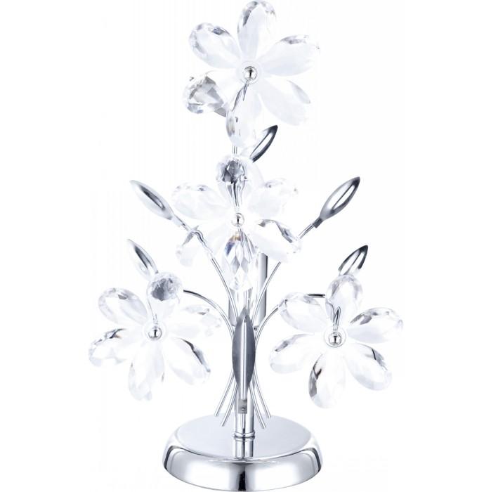 Лампа настольная GloboЛампы настольные<br>Тип настольной лампы: декоративная, Назначение светильника: для комнаты, Стиль светильника: флористика, Материал светильника: металл, Ширина: 235, Диаметр: 128, Высота: 370, Количество ламп: 1, Тип лампы: накаливания, Мощность: 40, Патрон: Е14, Цвет арматуры: хром, Коллекция: juliana<br>