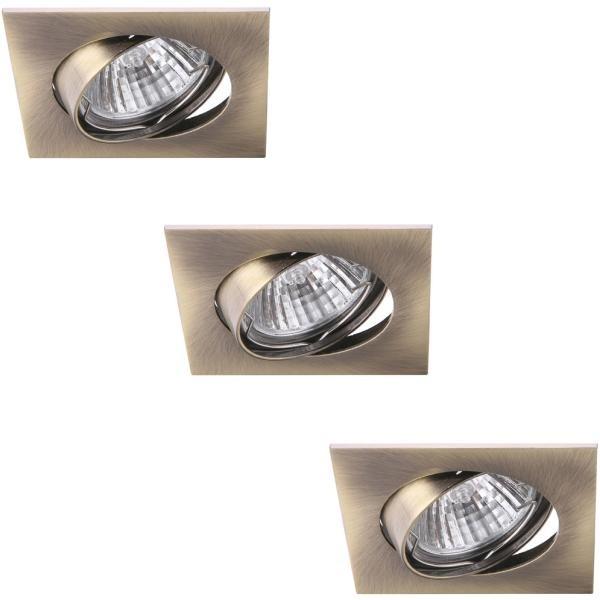 Светильник встраиваемый Arte lampСветильники встраиваемые<br>Стиль светильника: хай-тек,<br>Диаметр: 82,<br>Форма светильника: квадрат,<br>Материал светильника: металл,<br>Количество ламп: 3,<br>Тип лампы: галогенная,<br>Мощность: 50,<br>Патрон: GU10,<br>Цвет арматуры: бронза<br>