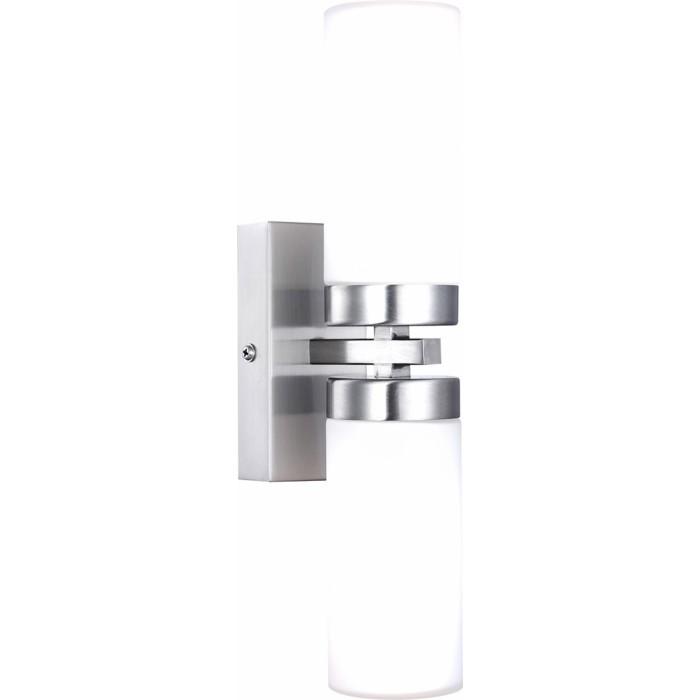 Светильник для ванной комнаты GloboСветильники для ванных комнат<br>Стиль светильника: модерн,<br>Назначение светильника: для ванной комнаты,<br>Материал светильника: металл, стекло,<br>Высота: 300,<br>Удаление от стены: 110,<br>Мощность: 40,<br>Количество ламп: 2,<br>Тип лампы: накаливания,<br>Патрон: Е14,<br>Цвет арматуры: матовый никель,<br>Степень защиты от пыли и влаги: IP 23<br>