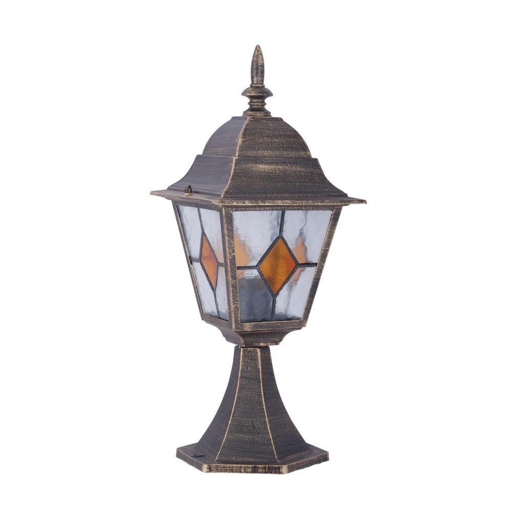 Светильник уличный Arte lampСветильники уличные<br>Мощность: 100,<br>Тип установки: на землю/пол,<br>Стиль светильника: модерн,<br>Материал светильника: металл, стекло,<br>Количество ламп: 1,<br>Тип лампы: накаливания,<br>Патрон: Е27,<br>Степень защиты от пыли и влаги: IP 44,<br>Цвет арматуры: коричневый,<br>Диаметр: 180,<br>Ширина: 180,<br>Высота: 470<br>