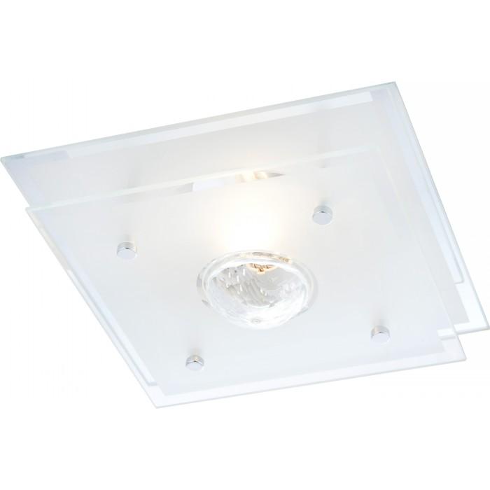 Светильник настенно-потолочный GloboСветильники настенно-потолочные<br>Мощность: 60,<br>Количество ламп: 1,<br>Назначение светильника: для комнаты,<br>Стиль светильника: модерн,<br>Материал светильника: металл, стекло,<br>Тип лампы: накаливания,<br>Длина (мм): 220,<br>Ширина: 220,<br>Высота: 100,<br>Патрон: Е27,<br>Цвет арматуры: хром<br>